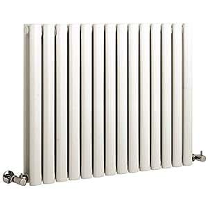 Nuevo Compacto Radiador Calefactor Mural De Diseño Revive Blanco Horizontal Acero Doble Panel 1589 Vatios - 633mm x 826mm - Calefacción Hudson Reed De Agua Para Hogar Soportes Pared Incluidos