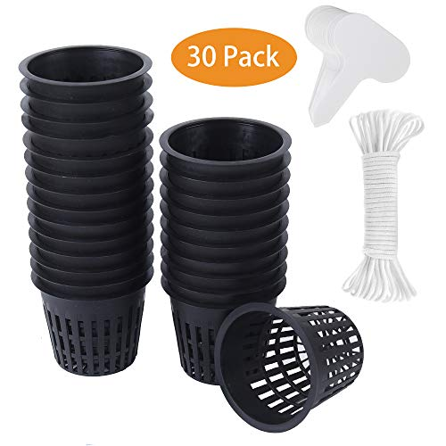 30 Pack 3 Inch Net Cup Pots Wide Lip Rim with Self Watering Wick & Plant Labels for Hydroponic Aquaponics System Mason…