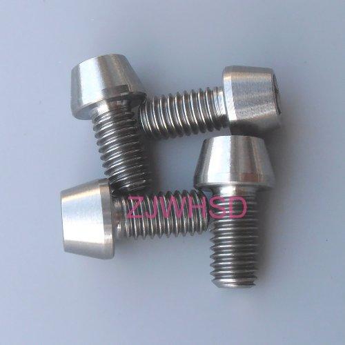 4個入 M6 x 12 mm チタン合金 TI 円錐形 六角穴付きテーパーヘッド ボルト ネジ ねじ 高強度・非磁性・超軽量・防