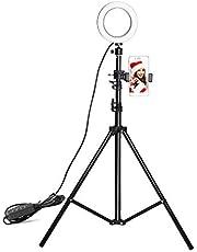 Docooler Luce ad Anello Led Dimmerabile, 16cm Ring Light con Treppiede e Supporto per Telefono, 3-colori Luce in Streaming per Smartphone, Youtube, Vine, Autoritratto