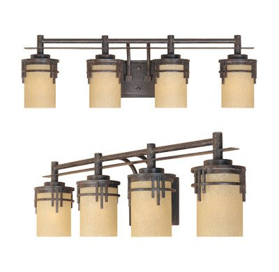 Mahogany 4 Light Vanity Lamp - 7