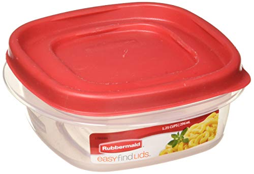 - Rubbermaid 714270018701 Easy Find Lid Square 5-Cup Food Storage Container (Pack of 6), Red