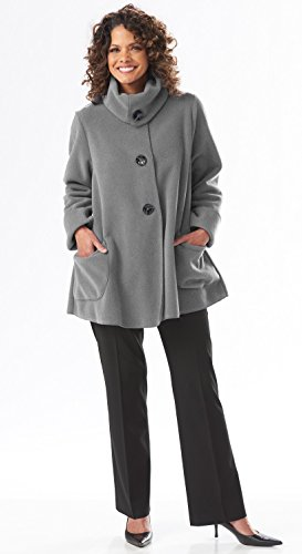 Collar Swing Coat - The Most Perfect Fleece Swing Coat - Women's Tie Button Jacket (X-Small, Gray)