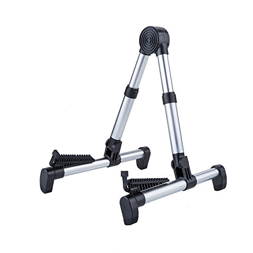 Adjustable Aluminum Floor Stand for All Types of Guitars and Basses Foldable to Easily Carry Steady Stand (Silver)