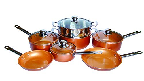 Copper Cookware And Frying Pans 10-Piece Set, Non Stick Ceramic Coating, Induction Base, Oven Safe, Dishwasher Safe, Tempered Glass Lids With Extra Steamer