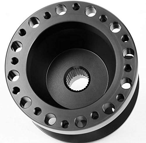 Black Slit Hole Spoke//Yellow Stripe Steering Wheel U043+Horn+Black Hub+Gold Quick Release Works with Acura 90-93 Integra//Honda 88-91 Civic//CRX