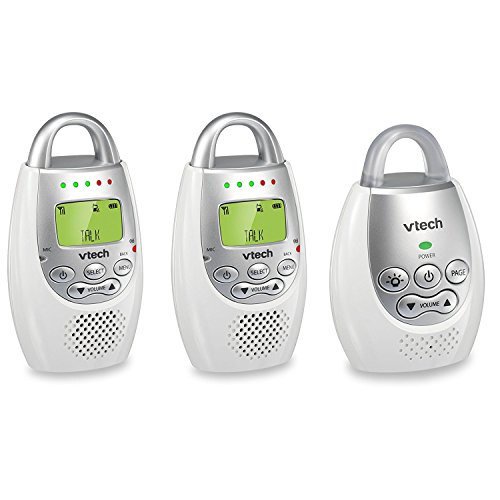 VTech BA72212GY Audio Baby Monitor with up to 1,000 ft of Range, Vibrating Sound-Alert, Talk Back Intercom & Night Light Loop with 2 Parent Units (Vtech Audio Baby Monitor With 2 Parent Units)