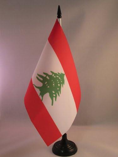 Piccola BANDIERINA LIBANESE 14 x 21 cm AZ FLAG Bandiera da Tavolo Libano 21x14cm