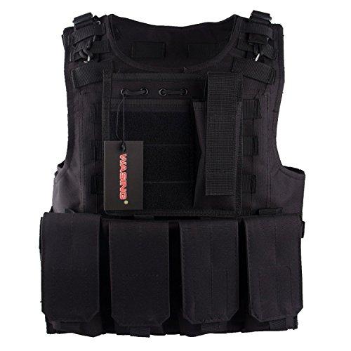 WASING 800D Tactical Vest 4 front pocket Tactical SWAT Vest for Police Holster WS-TV-color