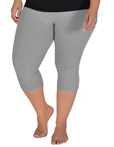 Gray Capris - Stretch is Comfort Women's Knee-Length Leggings Heather Gray 2X
