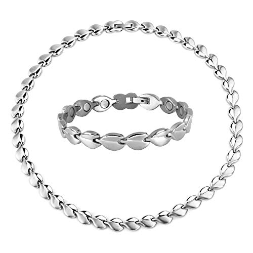 (N+NITROLUBE Fashion Jewelry Set, Stainless Steel Magnetic Necklace and Bracelet for)