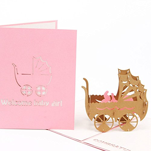 HUNGER Handmade 3D Pop Up Congrats Greeting Cards for Newborn Babies Girl Gifts New Parents (for baby girl)