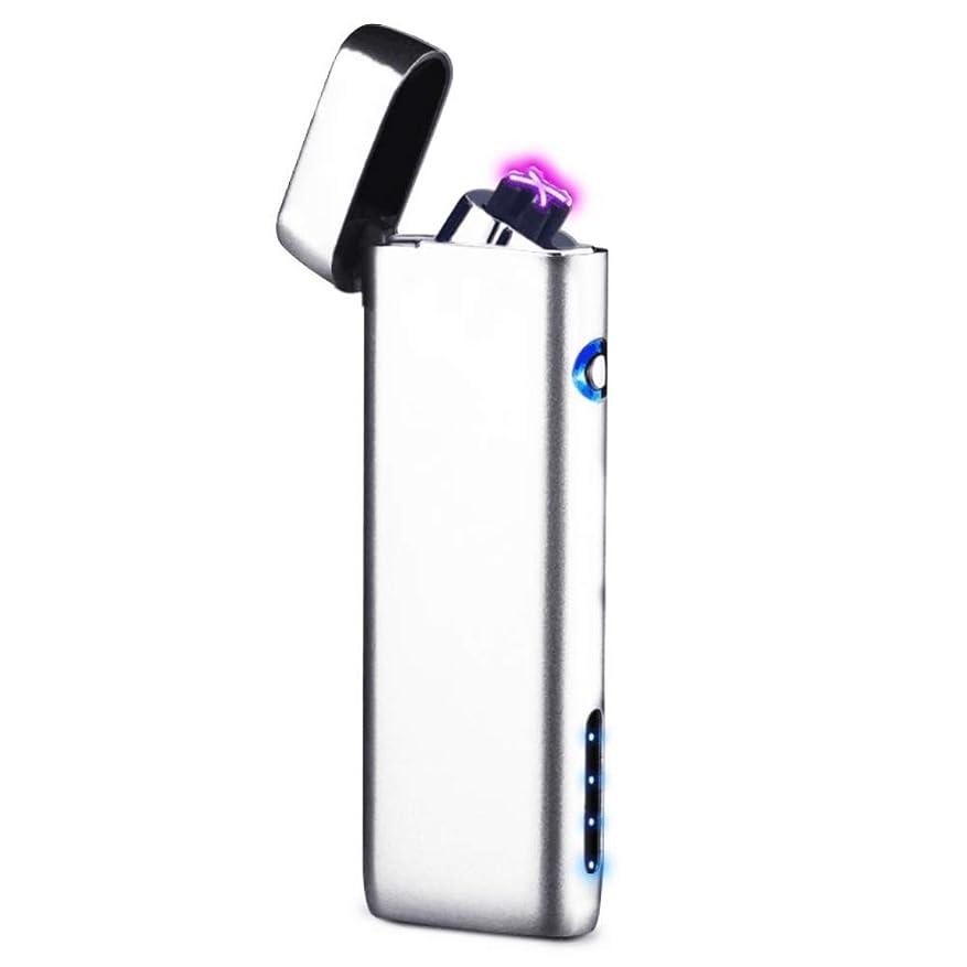 シェア有限再編成するUsb充電式電子ライター - SHAREMOREダブル風よけ薄型ターボライター, ワンタッチで点火-携帯式知能指紋センサープラズマライター(ブラック)