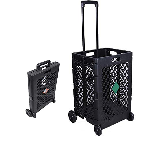 NOBLJX Folding Shopping Carts Mesh Rolling Trolleys Plastic Storage Box, Telescopic Handle 55 Lbs Capacity Utility Cart Great for Shopping, Camping, Sports Equipme