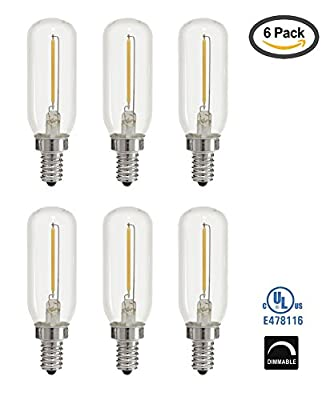 Light Blue™ 1-Watt (15W) LED T25 Tubular Filament, 120V, Candelabra (E12) Base Light Bulb, Dimmable, UL-Listed (6-PACK)