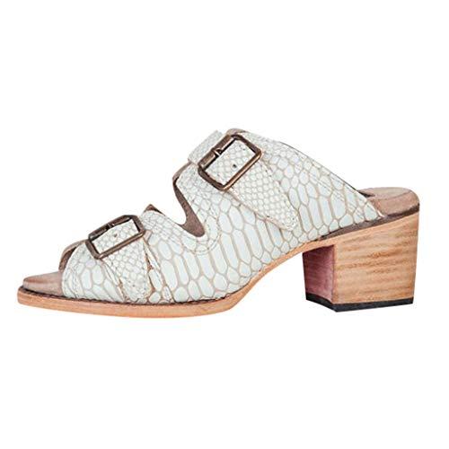 Respctful✿Women's Roman Chunky Platform Heel Sandals Block High Heel Slip On Wedge Slides White