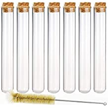 DEPEPE 12pcs 80ml Glass Test Tubes 25×200mm with Cork Stoppers and 1 Brush
