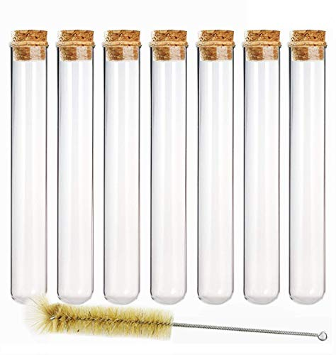 (DEPEPE 12pcs 80ml Glass Test Tubes 25×200mm with Cork Stoppers and 1 Brush)