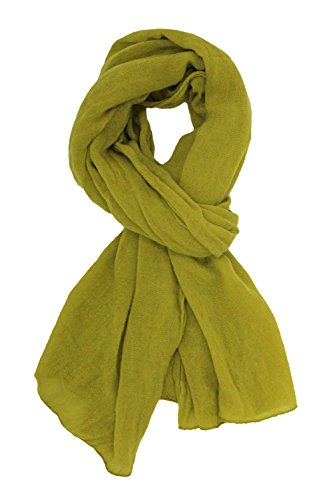 Soft Long Scarfs For Women Lightweight Warm Shawl Wrap Fall Blanket Solid Color (Grass Green) by JAWEAVER (Image #2)
