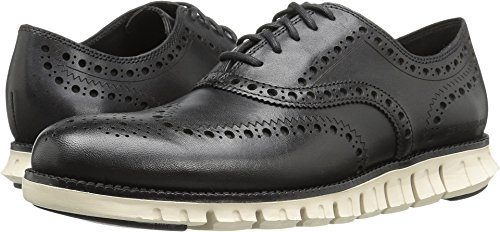 Cole Haan Mens Zerogrand Wing Oxford Black Closed Holes / White