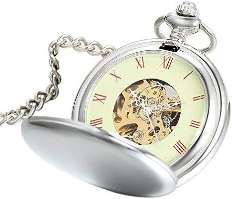 Avaner Reloj de Bolsillo Plateado Mate de Cazador con Cadena Larga 80cm, Estilo Sencillo Elegante, Mecánico Manual Reloj De Números Romanos para Hombre Mujer Regalos Dia del Padre Originales