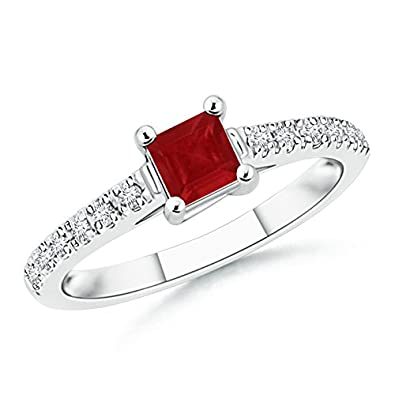 Angara Four Prong Round Natural Ruby Twisted Shank Ring in 14k White Gold fz43M