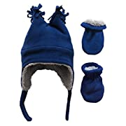 N'Ice Caps Boys Sherpa Lined Micro Fleece Four Corner Ski Hat and Mitten Set (6-18mo, Infant - Black/Charcoal Grey)