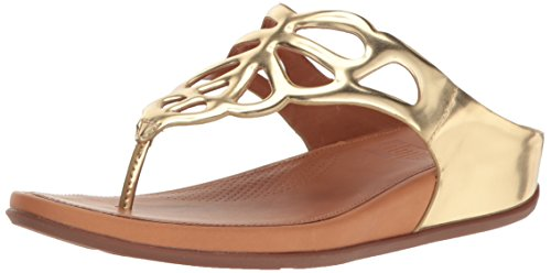 FitFlop Women's Bumble Leather Toe-Post Flip Flop, Gold Mirror, 5 M US by FitFlop