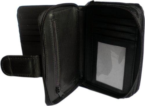 Leather Nappa Womens Purse Brand Black Soft Quality Organiser New n7fqpU6A