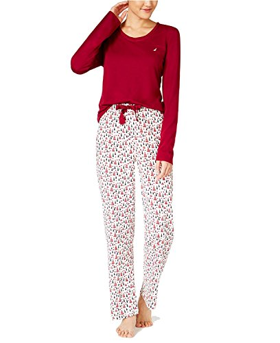 Nautica Women's Scoop-Neck Knit Top and Printed Pajama Pants Gift Set (X-Large, Ruby/Trees) (Dresses For Women Nautica)