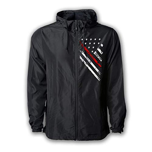 Tactical Pro Supply USA Windbreaker Jacket for Men or Women, American Flag Patriotic Hoodie Zip Up (X-Large, Red Line Crest)