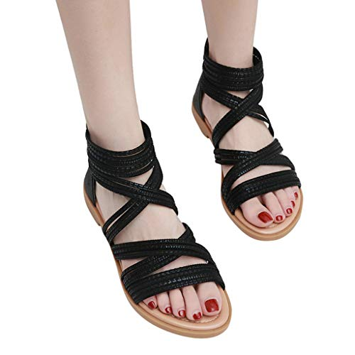 (Londony↪❤ Women Fashion Casual Roma Sandals Cross Strappy Bnadage Breathe Flat Shoes Slippers Black)