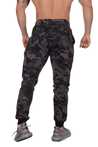 YoungLA Mens Slim Fit Joggers Fitness Activewear Sports Fleece Sweatpants for Gym Training (Camo Black, Medium) by YoungLA (Image #1)