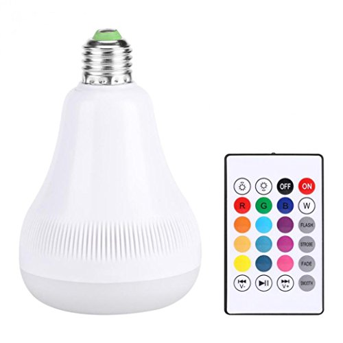 Sonmer 18W RGB E27 LED Music Light Bulb, With Wireless Remote Control and Bluetooth Speaker by Sonmer