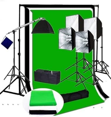 Fodoto 4500w Photo Video Continuous Softbox Lighting Kit 3pc Photo Video Backdrop Kit w//Stand