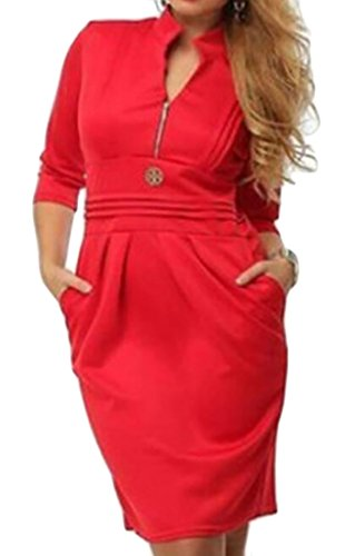 Dress Plus Women's Domple Red Size Casual Mini Neck Zipper Pleated V Pockets vHwqFwd5