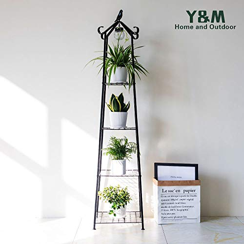 4 Tier Multifunctional Plant Stand Flower Shelf,Ladder-Shaped Shelf Bookcase,with LED Light,Black (Corner Iron Plant Stand)