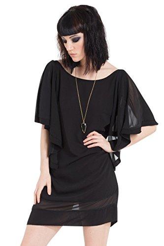 Jawbreaker Gothic Metal Punk Rock Star Goth Drape Sleeve Black Dress (L)