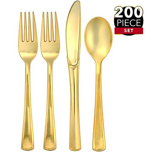 Gold Plastic Silverware (200 Gold Plastic Silverware Set - Gold Plastic Cutlery Set, Disposable Silverware Set | 100 Gold Forks, 50 Gold Spoons, 50 Gold Knives | Heavy Duty Bulk Disposable Flatware Set)