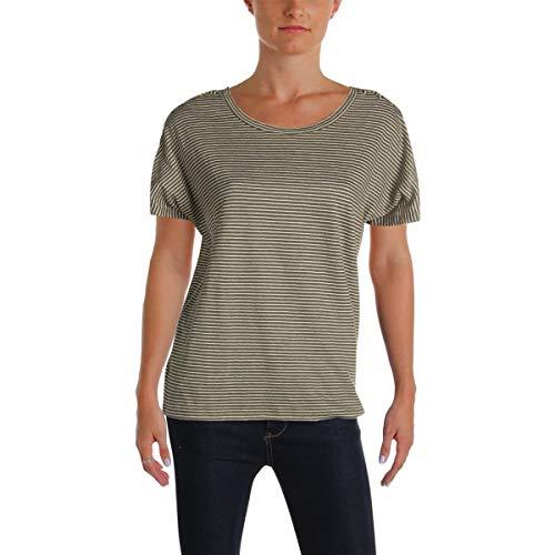 (LAUREN RALPH LAUREN Womens Atshar Knit Linen T-Shirt Green M)