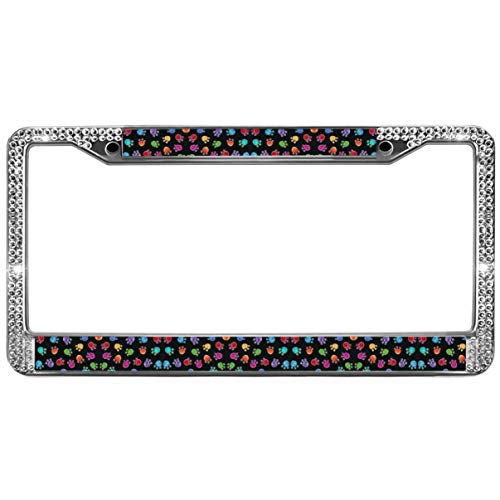 (GND Shiny Bling License Plate Cover Frame,Color Dog Paws License Plate Frame Bling Crystal Dog Paw Prints Bling Stainless Steel License Plate Frame)