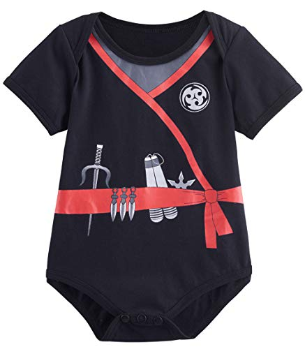 COSLAND Baby Boys'Halloween Ninja Bodysuit (Ninja, 6-12 Months) -