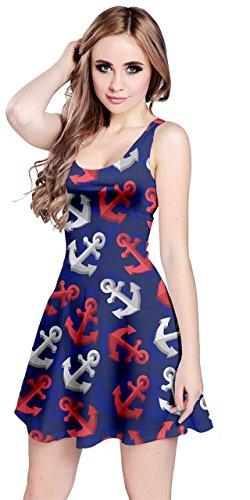 CowCow Womens Blue Red Anchor Sleeveless Dress, Blue - M