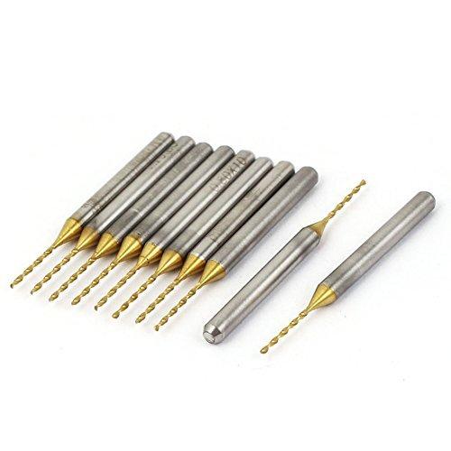 eDealMax 38mm Lunghezza 0,8 millimetri punta TiN Coated carburo CNC PCB Fine Micro Drill Bits 10 pezzi by eDealMax