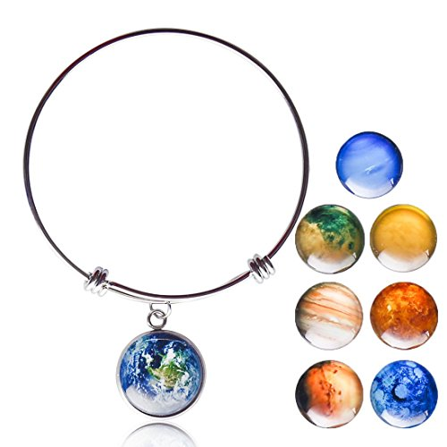 Planet Pendant Necklaces for Women - Solar System Double-sided Handmade Steel Chain Cross Necklace (Planet - Planets Buy