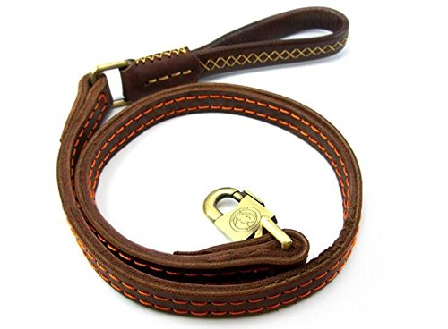 Dogs Kingdom Genuine Leather Dog Training Leash Double Widened Thickening Dog Real Leather Leashes Large Metal Hook For Medium and Large Dogs Brown One Size