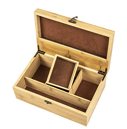 Helio Large Premium Bamboo Wooden Stash Box (11x7.5x4 in) for Discrete/Subtle Storage of Smoking Accessories Including lighters, Pipes, Grinders, etc. - Organized/Divided Chest