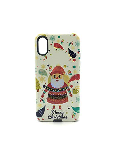 iPhone X XS Holographic Holiday Case (White Santa Merry Christmas)