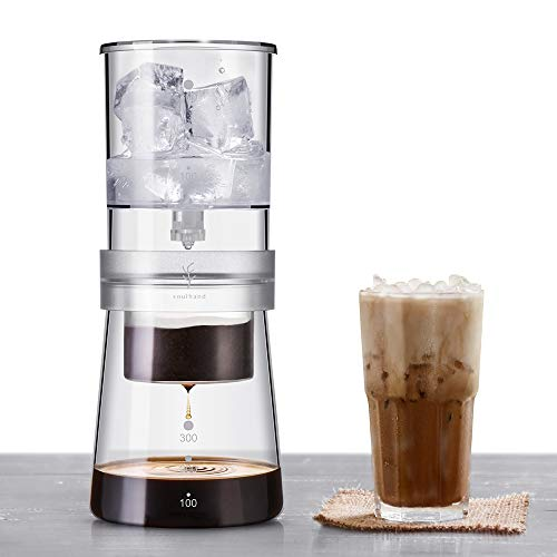 Soulhand Ice Drip Coffee Maker, Adjustable Rate Ice Drip Dripper Glass Dutch Style Cold Brew Coffee Maker for Cold-Brewed Coffee –A New Way of Coffee