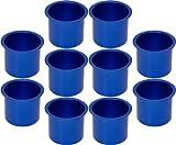 Cup Holders - 10 Aluminum Jumbo Dark Blue Poker Table Drink Cup Holders
